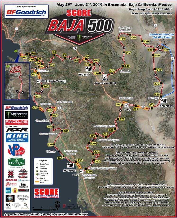 Baja 500 Course Map