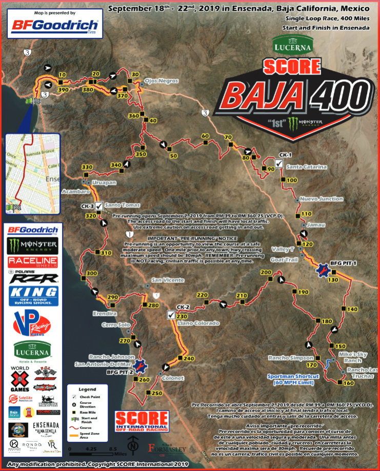 Baja 400 route map